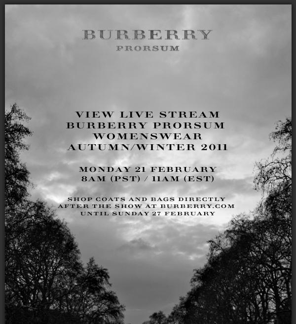 Burberry Fall 2011 Live Stream
