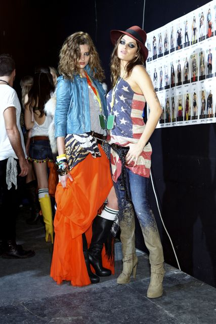 Bette Franke and Isabeli Fontana at DSquared2 Spring Summer 2012 Fashion Show in Milan