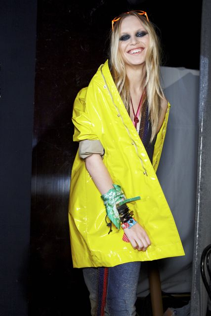 Valeria Dmitrienko backstage DSquared2 Spring Summer 2012 Collection Milan Fashion Week