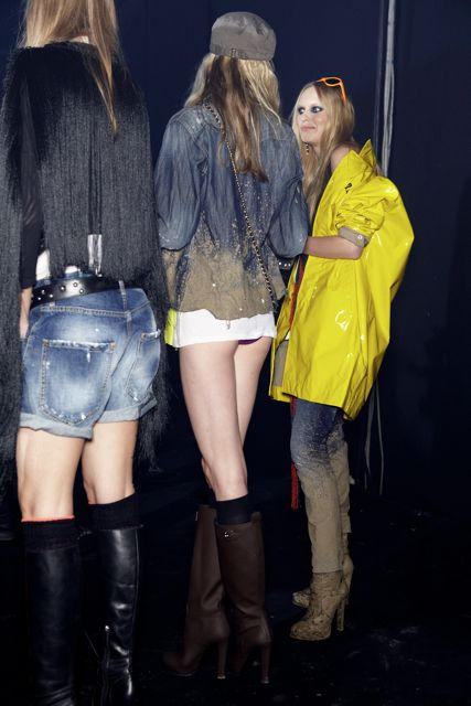 Models backstage at DSquared2 Spring Summer 2012 Collection Milan Fashion Week