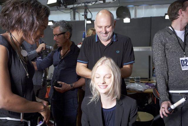Sam McKnight and Patricia van der Vliet backstage at DSquared2 Spring Summer 2012 Fashion Show in Milan