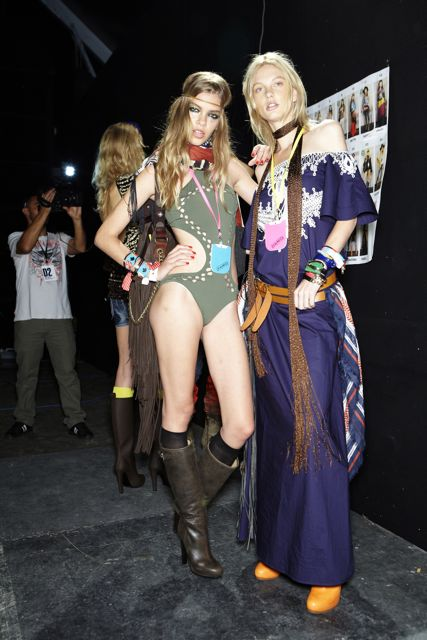 Valerija Sestic and Patricia van der Vliet backstage at DSquared2 Spring Summer 2012 Fashion Show in Milan