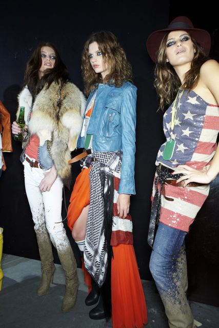 Milly Simmonds Bette Franke and Isabeli Fontana at DSquared2 Spring Summer 2012 Fashion Show in Milan