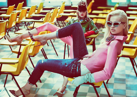 DSquared2 Fall Winter 2012 Campaign with Daphne Groeneveld and Bette Franke