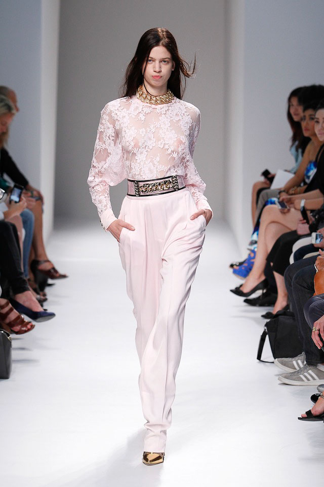Lily McMenamy walks the Balmain Spring 2014 fashion show