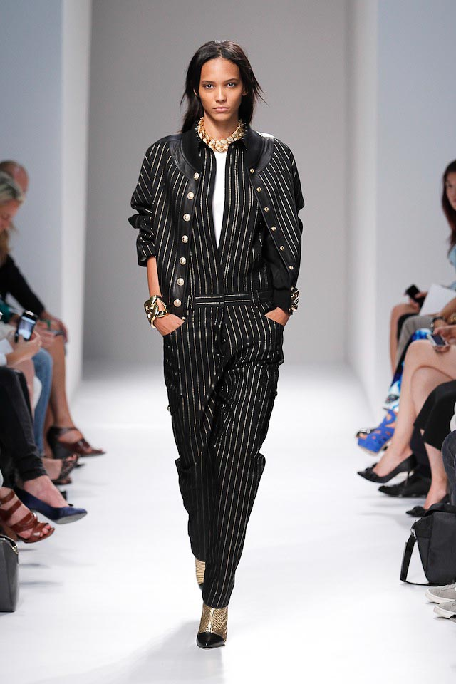 Cora Emmanuel walks the Balmain Spring 2014 fashion show