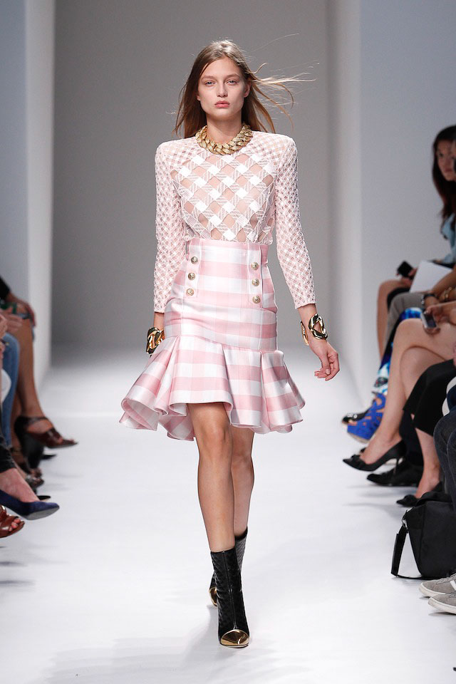 Svetlana Zakharova walks the Balmain Spring 2014 fashion show