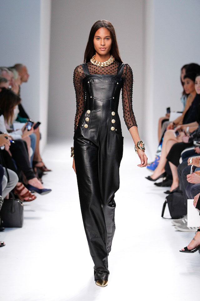 Cindy Bruna walks the Balmain Spring 2014 fashion show