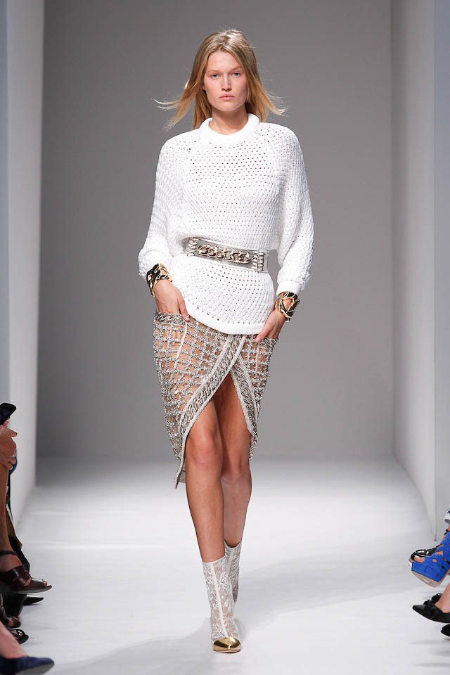 Toni Garn walks the Balmain Spring 2014 fashion show