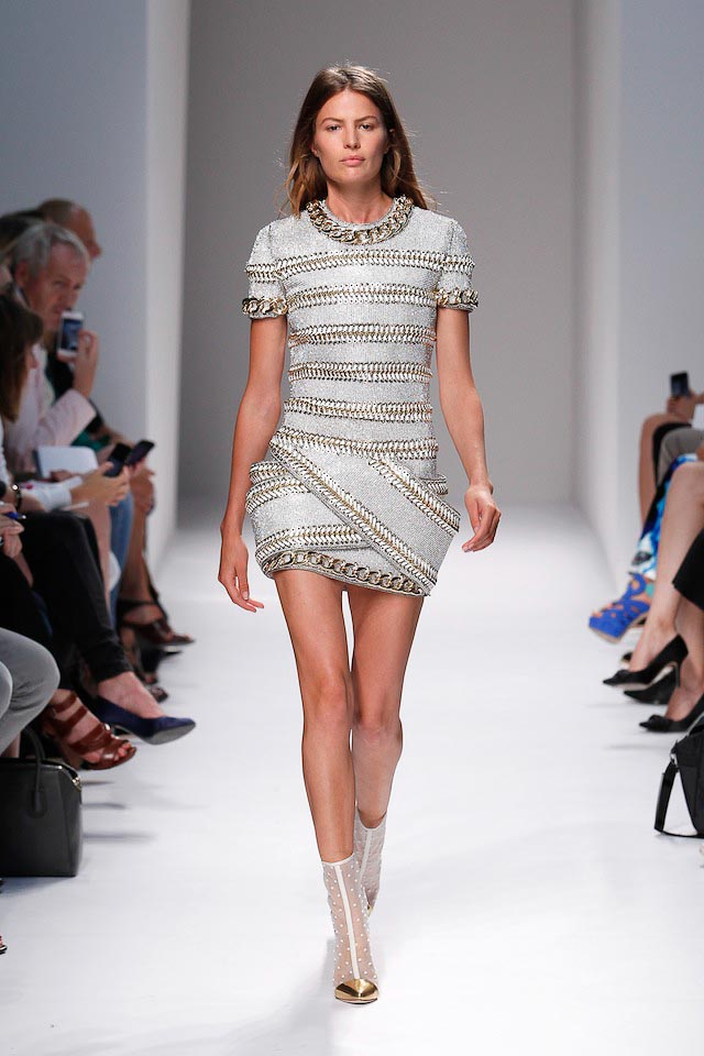 Carmen Russel walks the Balmain Spring 2014 fashion show
