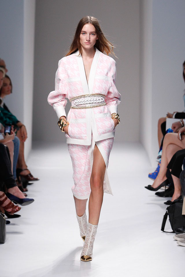 Josephine Le Tutour walks the Balmain Spring 2014 fashion show