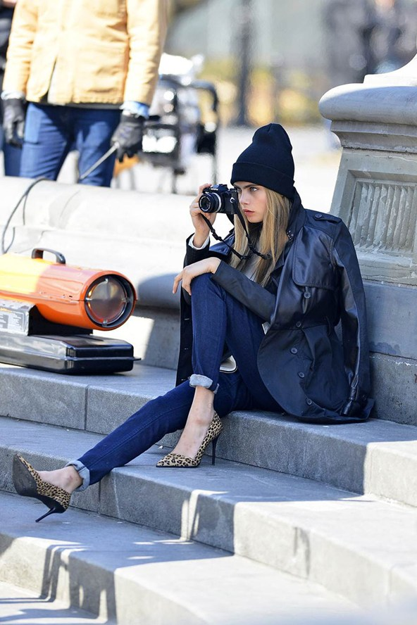 Cara Delevingne on set of DKNY Fall 2013 Ad Campaign