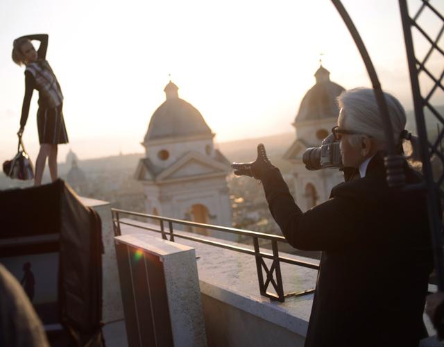 Karl Lagerfeld shoots the Fendi Fall 2013 Campaign