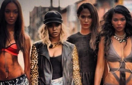 Beyonce with Jourdan Dunn, Chanel Iman and Joan Smalls